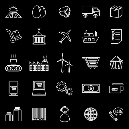 labor market: Supply chain line icons on black background