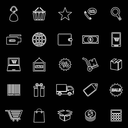 package printing: E-commerce line icons on black background, stock vector