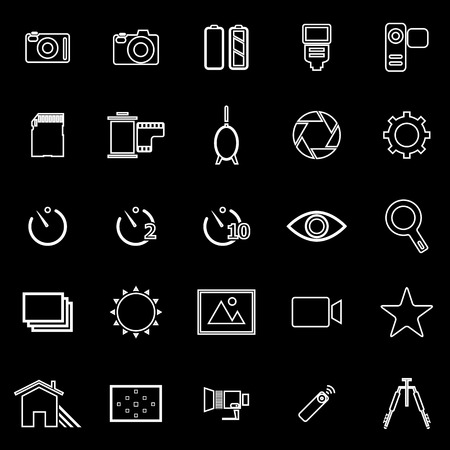 mirrorless camera: Camera line icons on black background, stock vector Illustration