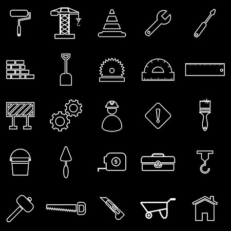 bucket and spade: Construction line icons on black background, stock vector