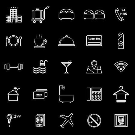 Hotel line icons on black background, stock vector