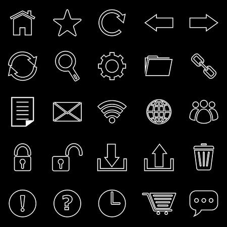 bar line: Tool bar line icons on black background, stock vector Illustration