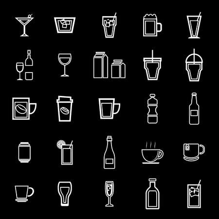 spirituous: Drink line icons on black background, stock vector