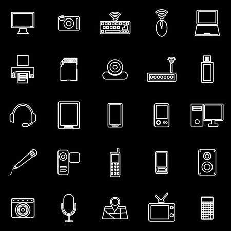 portable console: Gadget line icons on black background, stock vector