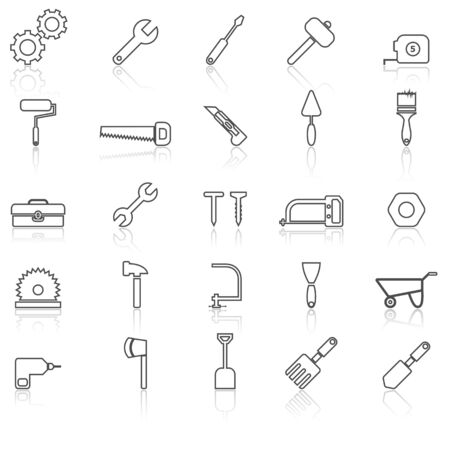 reflect: Tool line icons with reflect on white, stock vector Illustration