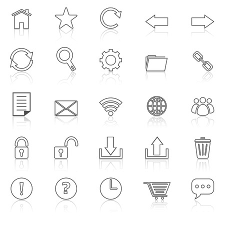 bar tool set: Tool bar line icons with reflect on white, stock vector