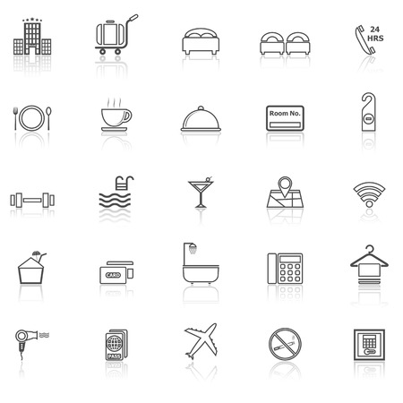 reflect: Hotel line icons with reflect on white, stock vector