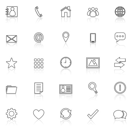 reflect: Contact line icons with reflect on white, stock vector