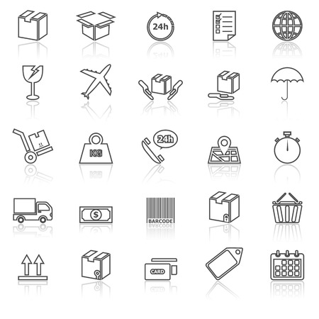 reflect: Shipping line icons with reflect on white, stock vector Illustration