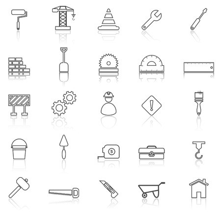 reflect: Construction line icons with reflect on white, stock vector Illustration