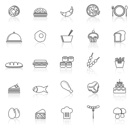 Food line icons with reflect on white, stock vector Illustration