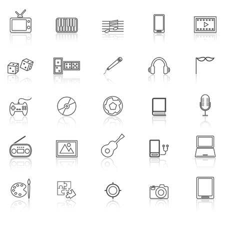reflect: Entertainment line icons with reflect on white, stock vector