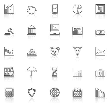 reflect: Stock market line icons with reflect on white, stock vector Stock Photo