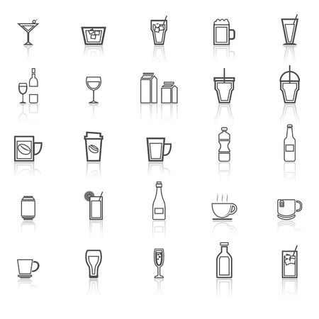 spirituous beverages: Drink line icons with reflect on white, stock vector Stock Photo