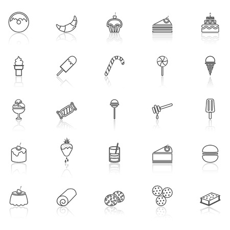 reflect: Dessert line icons with reflect on white, stock vector