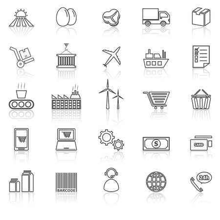 labor market: Supply chain line icons with reflect on white, stock vector