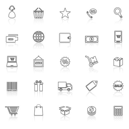 package printing: E-commerce line icons with reflect on white, stock vector