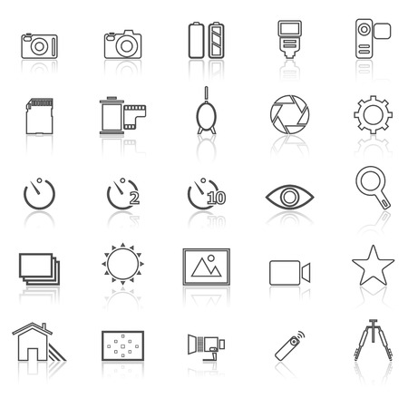 neutral density filter: Camera line icons with reflect on white, stock vector Illustration
