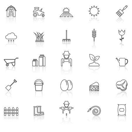 Farming line icons with reflect on white, stock vector
