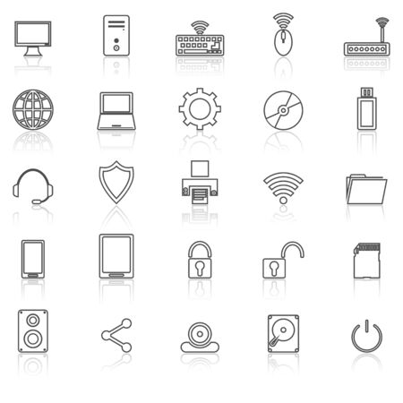 lcd panel: Computer line icons with reflect on white, stock vector