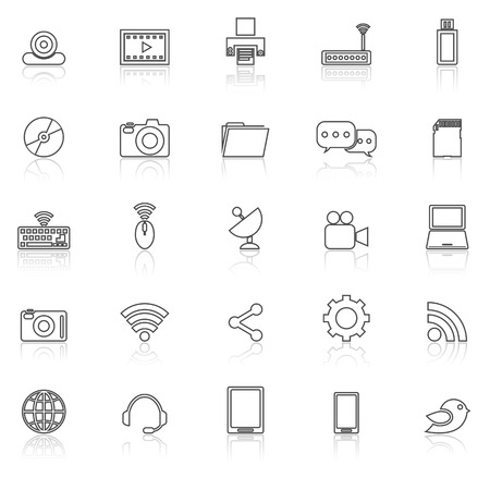 reflect: Hi-tech line icons with reflect on white, stock vector