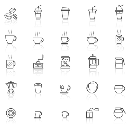 reflect: Coffee line icons with reflect on white, stock vector
