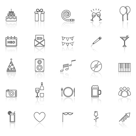 reflect: Birthday line icons with reflect on white, stock vector