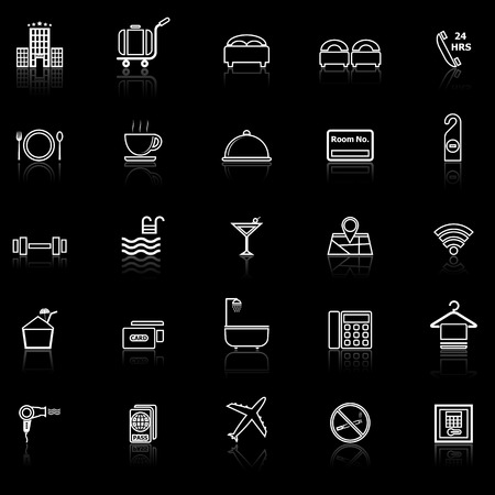 reflect: Hotel line icons with reflect on black, stock vector Illustration