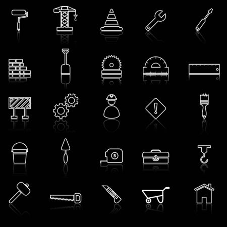 reflect: Construction line icons with reflect on black, stock vector