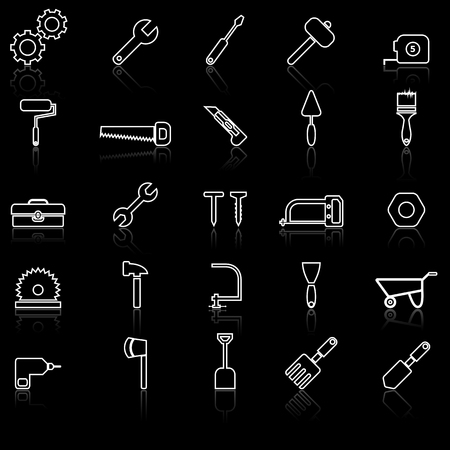 reflect: Tool line icons with reflect on black, stock vector