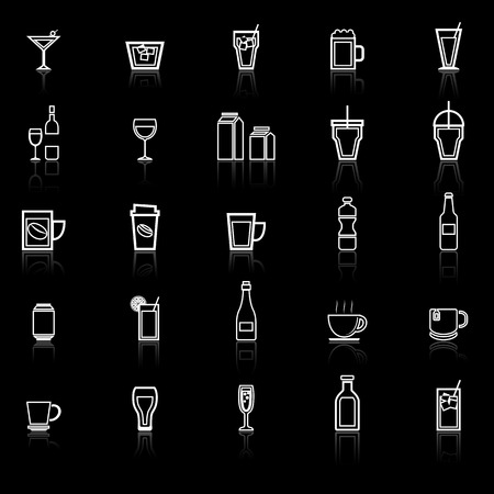 spirituous: Drink line icons with reflect on black, stock vector