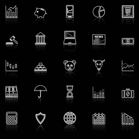 Stock market line icons with reflect on black, stock vector Illustration