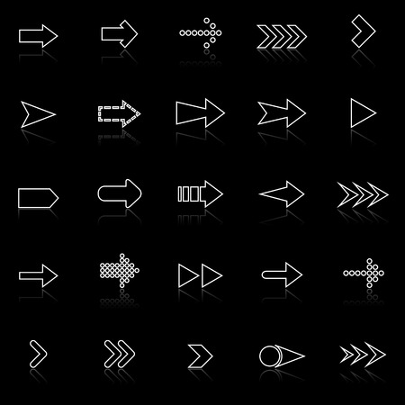 reflect: Arrow line icons with reflect on black, stock vector