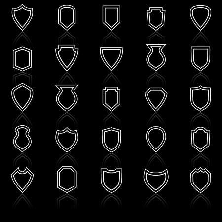 reflect: Shield line icons with reflect on black, stock vector