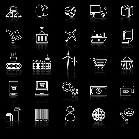 Supply chain line icons with reflect on black, stock vector