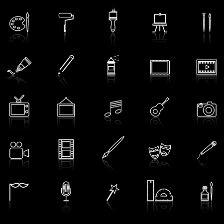 ruling: Art line icons with reflect on black, stock vector