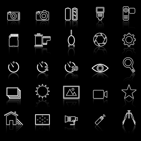polarizing: Camera line icons with reflect on black, stock vector