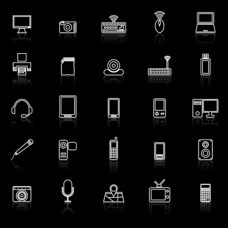 reflect: Gadget line icons with reflect on black, stock vector