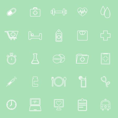 food hygiene: Health line icons on green background, stock vector Illustration
