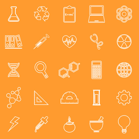 neutrons: Science line icons on orange background, stock vector