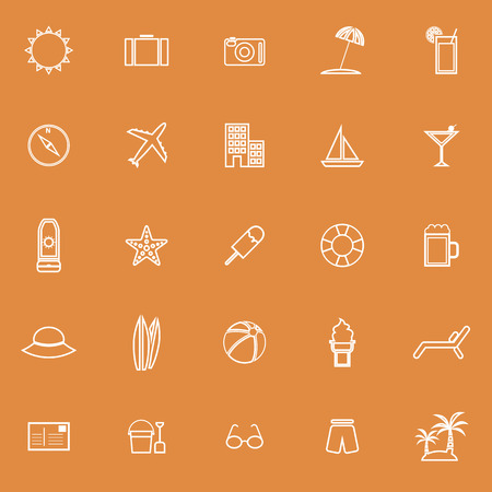 sun block: Summer line icons on orange background, stock vector Illustration