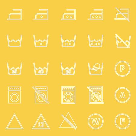 laundry line: Iconos de l�nea de lavander�a sobre fondo amarillo, stock de vectores