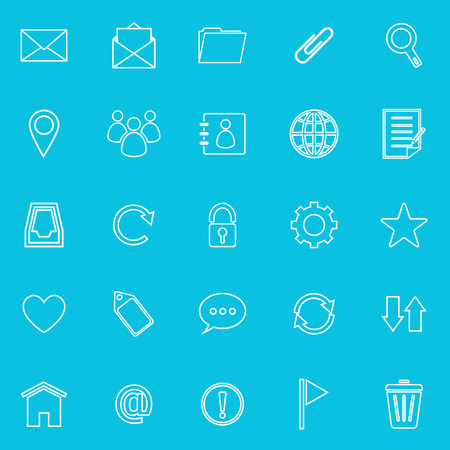 unread: Mail line icons on blue background, stock vector