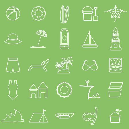 sun block: Beach line icons on green background, stock vector Illustration
