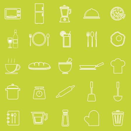 continental food: Kitchen line icons on green background, stock vector