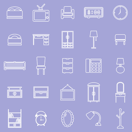 Bedroom line icons on violet background, stock vector