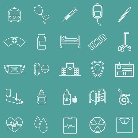 eye bandage: Hospital line icons on green background, stock vector