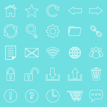 bar line: Tool bar line icons on blue background, stock vector