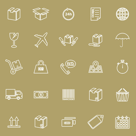 Shipping line icons on brown background, stock vector