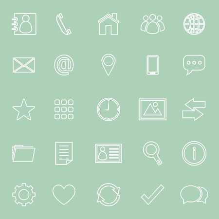 work popular: Contact line icons on green background, stock vector